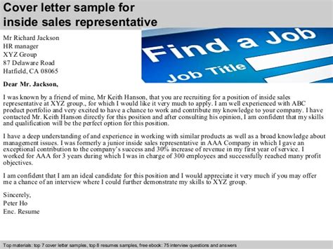 cover letter for inside sales position inside sales representative cover letter