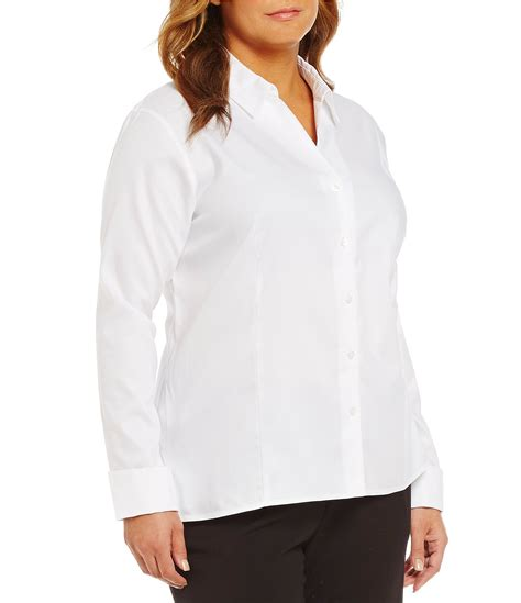 Calvin Klein Blouses At Dillards by Calvin Klein Plus Wrinkle Free Pinpoint Oxford Blouse