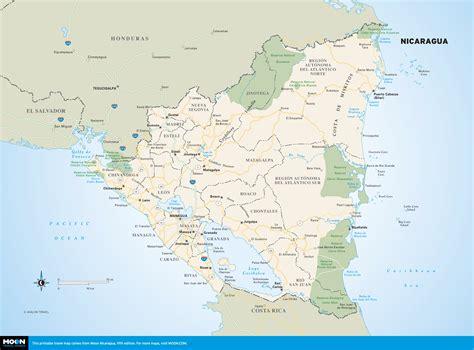 nicaragua on a map color travel map of nicaragua