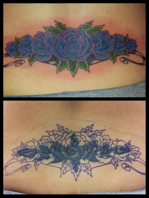lower back tattoo cover up roses cover up back lower purple s