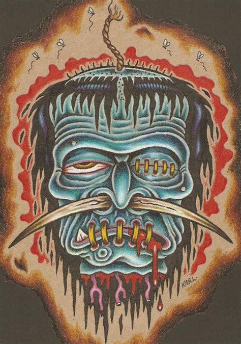 shrunken heads tattoo karl kaufmann shrunken lowbrow prints
