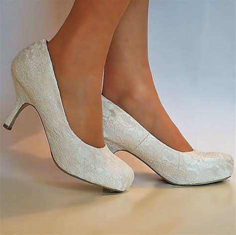 Wedding Shoes Ivory Dress by New Wedding Bridal Diamante Ivory Satin Low Mid