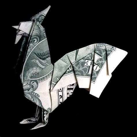 Single Dollar Bill Origami - money origami rooster figurine gift made of real one
