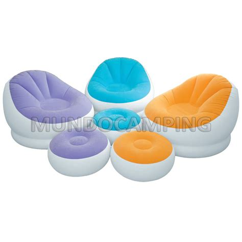 sillon inflable sillon inflable intex con puff colores mundo cing