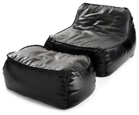 bean bag chair and ottoman formosa lounge chair ottoman in midnight black leather