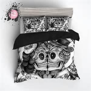 Sugar Skull Duvet Cover Pencil Sketch Rose Kissing Couple Sugar Skull Duvet