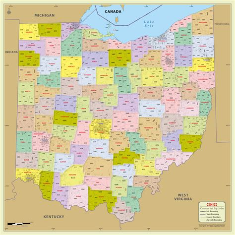 ohio zip code map buy ohio zip code map with counties