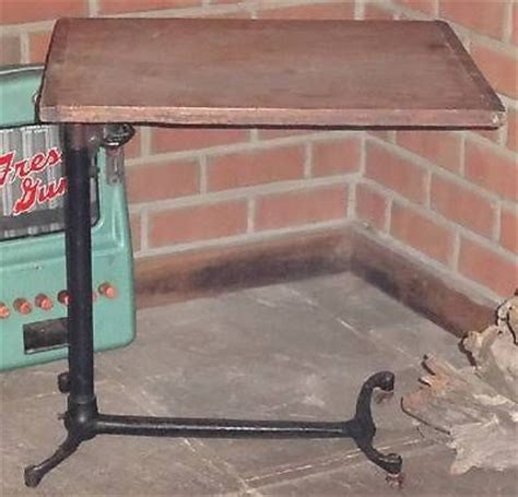 antique cast iron wood adjustable hospital bed tray table
