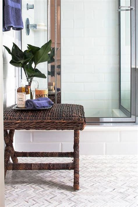 seagrass bathroom accessories seagrass bathroom x stool with marble chevron floor tiles