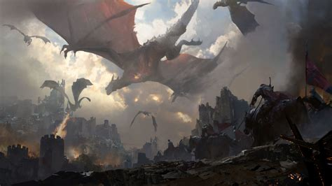 wallpaper dragon knights castle battle horses sky