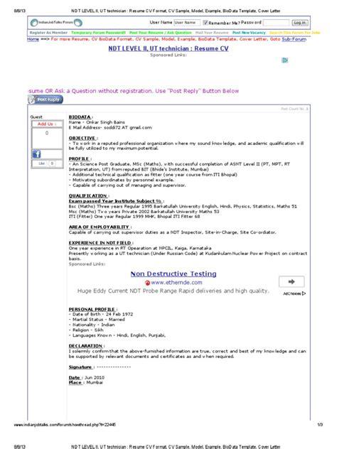 biodata format for radiographer sle resume cv format