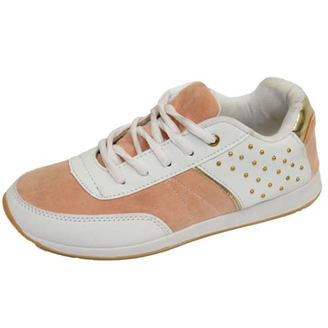 womens white stud casual sports fashion trainers