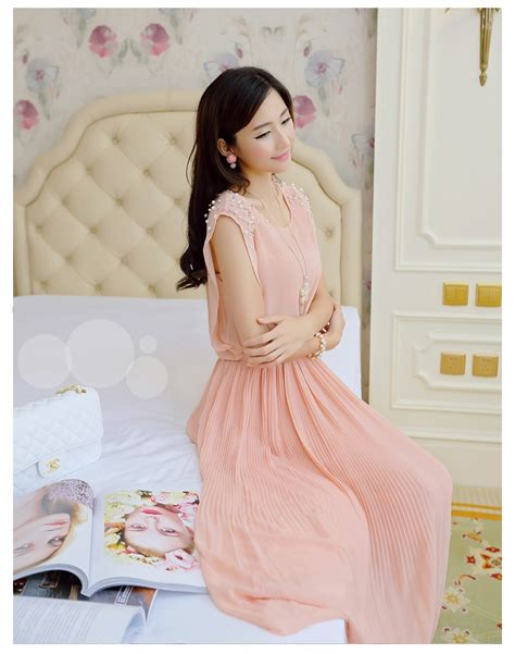 Kaos Bodyfit Murah Korea Sweater Korea Korea Casual Korea Brun dress wanita korean style sleeveless chiffon dress size m pink jakartanotebook