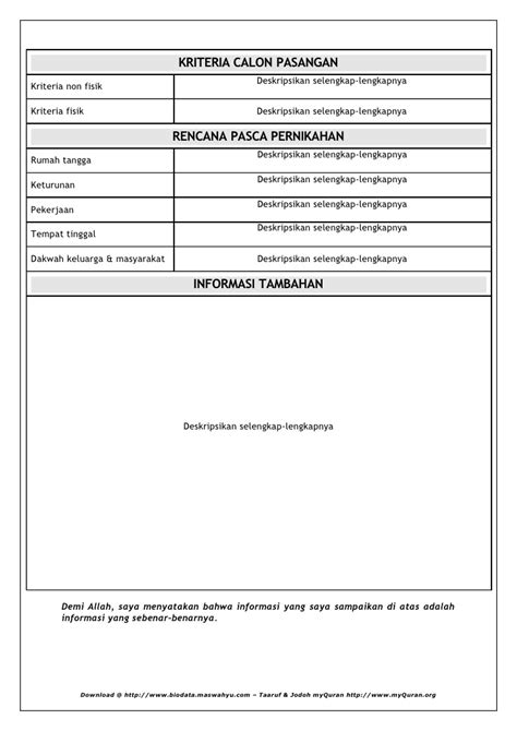 contoh format biodata taaruf contoh biodata jodoh contoh two