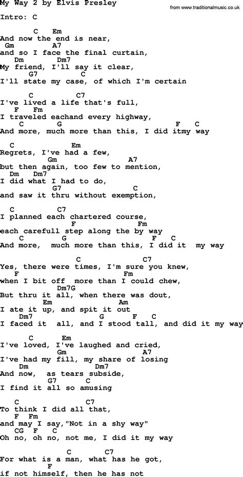 song my my way 2 by elvis lyrics and chords