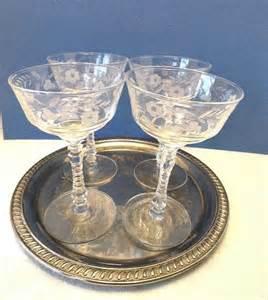 Crystal Vases For Sale 4 Vintage Crystal Wine Glasses Etched Flowers Libbey