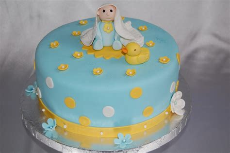 Baby Showers Cakes by Customised Cakes By Jen Blue Baby Shower Cake