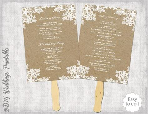 diy wedding program fan template rustic wedding fan program template quot rustic lace quot diy
