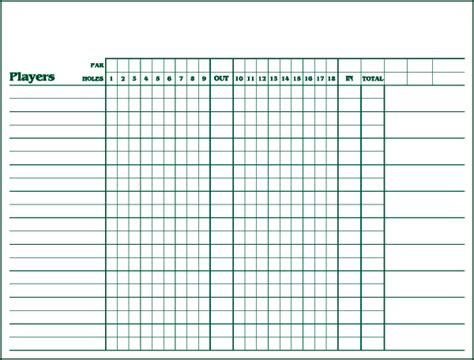 Golf Marking Template by Large Medal Play Score Sheets Sign Up Sheets Jmk Sports
