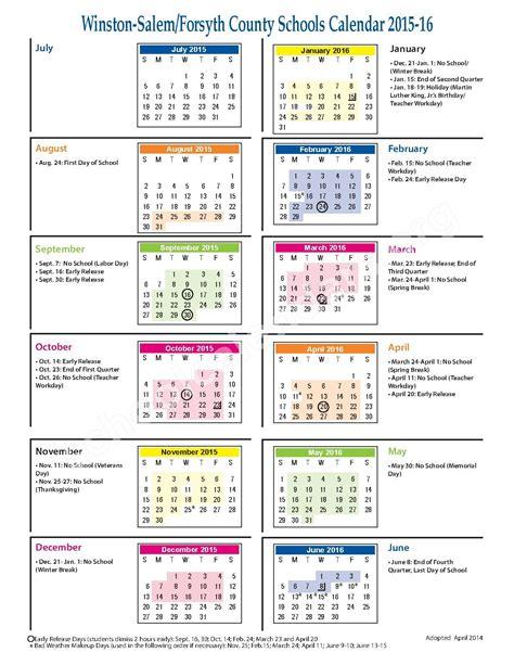 County Calendar Forsyth County School Calendar 2017 My