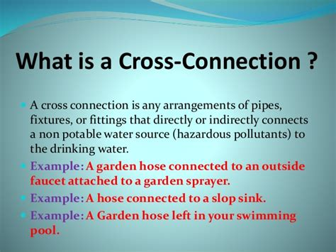 What Is A Cross Connection In Plumbing by Cross Connection Power Point 3