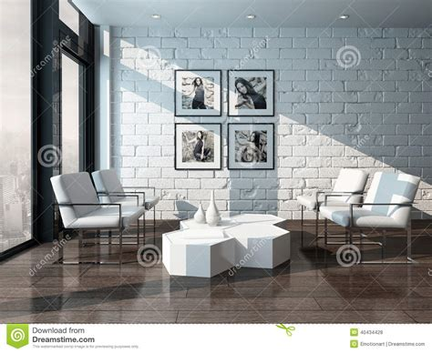 White Brick Wall Living Room by Minimalist Living Room Interior With Brick Wall Stock