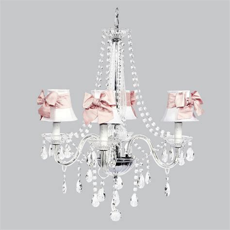 White And Pink Chandelier Four Arm Middleton Glass Chandelier With White Shades And Pink Sashes