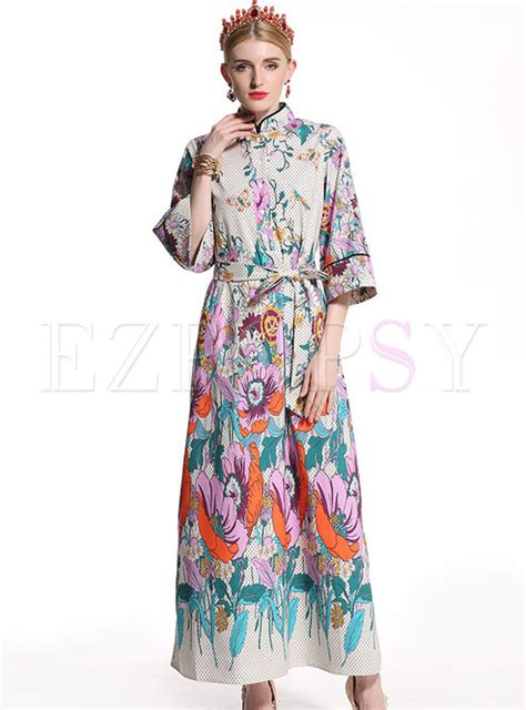Floral Print Stand Collar Dress dresses maxi dresses floral print stand collar