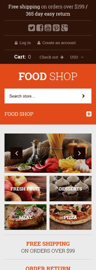 shopify themes food food shop shopify theme smartphone layout 2