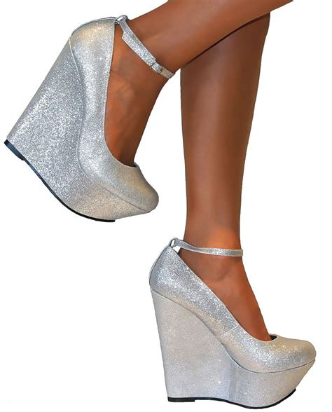 silver wedges shoes silver glittery platform wedge high heels ankle
