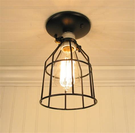 Industrial Cage Ceiling Light auburn port industrial cage ceiling light with edison bulb
