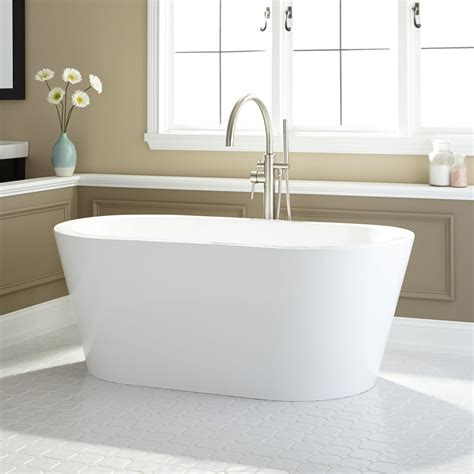 55 quot abescon acrylic freestanding white bath tub signature hardware