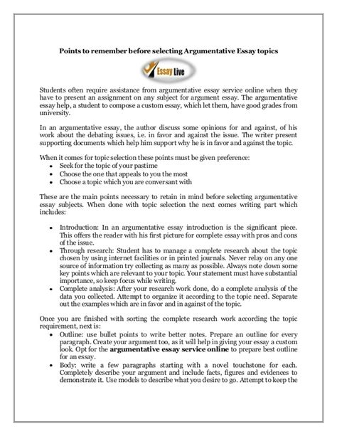 topics to write an argument paper on points to remember before selecting argumentative essay topics