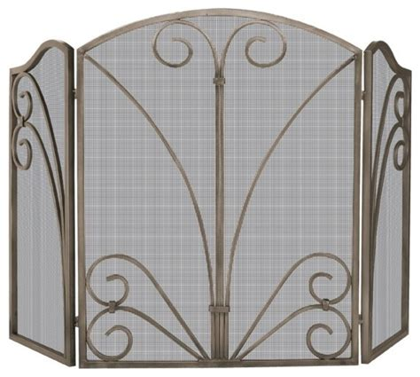 Ornate Fireplace Screens by 3 Panel Arched Bronze Mesh Screen Ornate Scrollwork