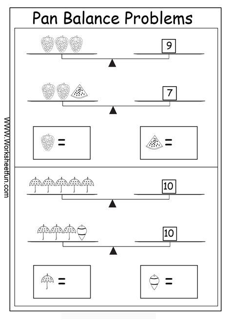 Pan Balance Worksheets by Algebra Worksheets Algebraic Reasoning Balance