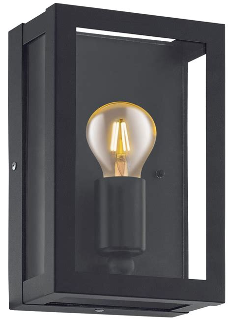 Alamonte 1 Black 1 Light Outdoor Box Lantern Ip44 Eglo 94831 Outdoor Lighting Box