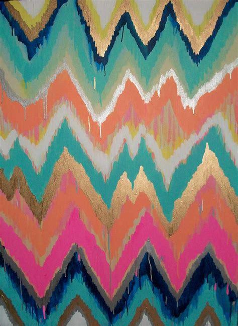 Handmade Prints - custom ikat chevron 36x48 painting by moreman