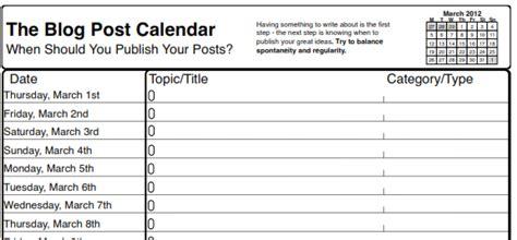 Blog Post Calendar Template