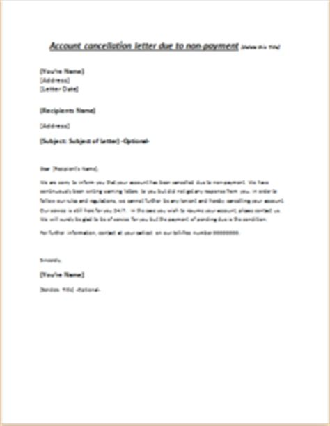 Pay Order Cancellation Letter Format Account Cancellation Letter Due To Non Payment Writeletter2