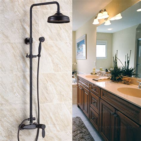 bathrooms with bronze fixtures retro black rubbed bronze bathroom exposed shower faucets