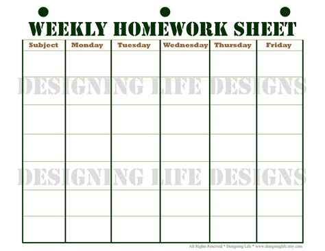 Homework Planner Schedule And Weekly Homework Sheet Homework Calendar Template Printable