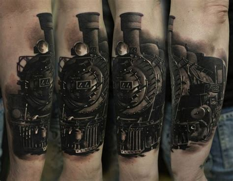 train tattoo realistic by dennis sivak photo