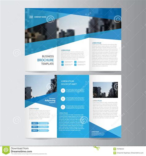 leaflet design layout blue business trifold leaflet brochure flyer template