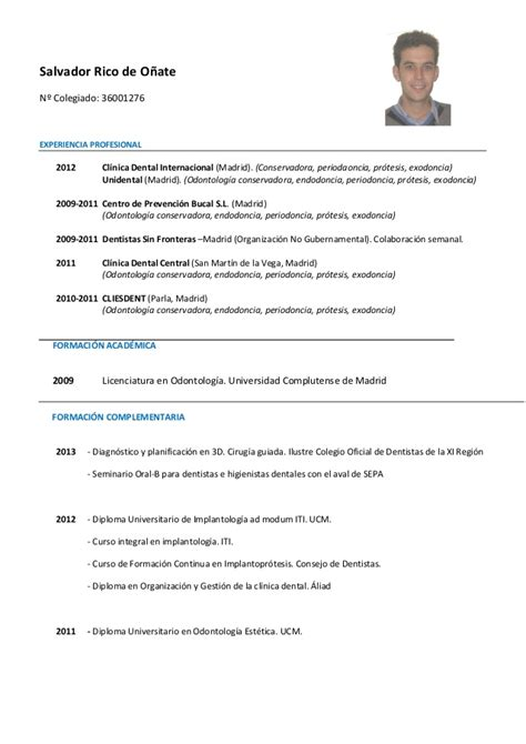 Modelo Curriculum Vitae Higienista Dental Cv Salvador