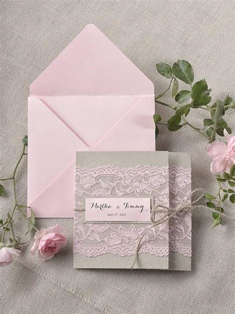 custom folder wedding invitations custom listing 100 rustic lace invitations pink lace wedding invitation pocket fold wedding