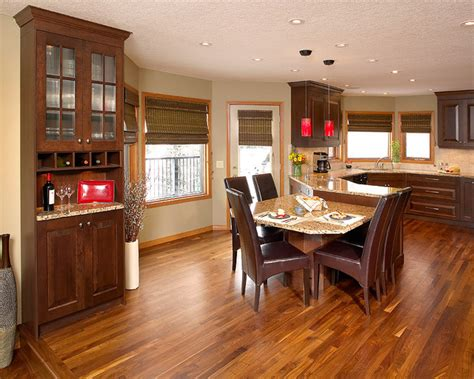 walnut hardwood floor in kitchen contemporary kitchen