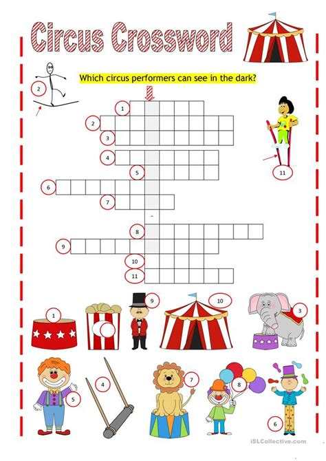 printable circus activity sheets circus crossword worksheet free esl printable worksheets