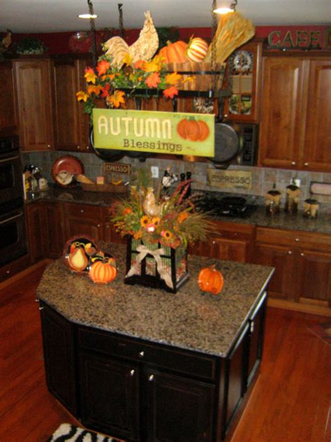 how to decorate your kitchen island decorate your pot rack for fall traditional kitchen
