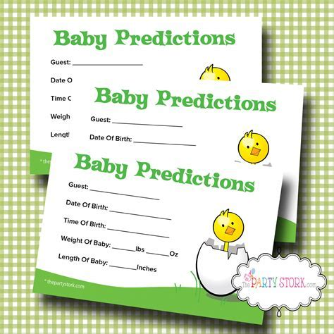 Printable Baby Shower Prediction Game Baby Shower Predictions