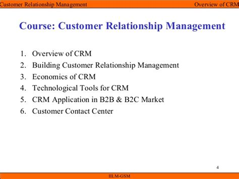 Mba Customer Relationship Management Syllabus by Crm Unit I Overview Of Crm